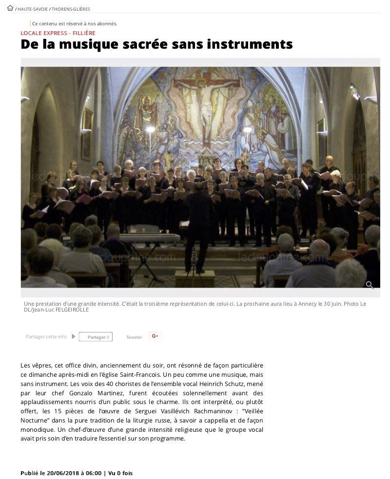 Article Presse concert Thorens Ensemble vocal Schutz Vêpres Rachmaninov
